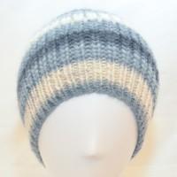 Bonnet en laine gris, beige & blanc